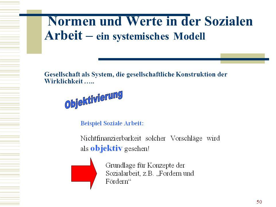 50 Normen und Werte in der Sozialen Arbeit – ein systemisches Modell Gesellschaft als System, die gesellschaftliche Konstruktion der Wirklichkeit …..