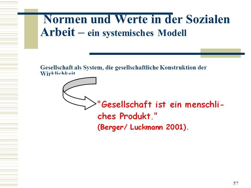 57 Normen und Werte in der Sozialen Arbeit – ein systemisches Modell Gesellschaft als System, die gesellschaftliche Konstruktion der Wirklichkeit …..