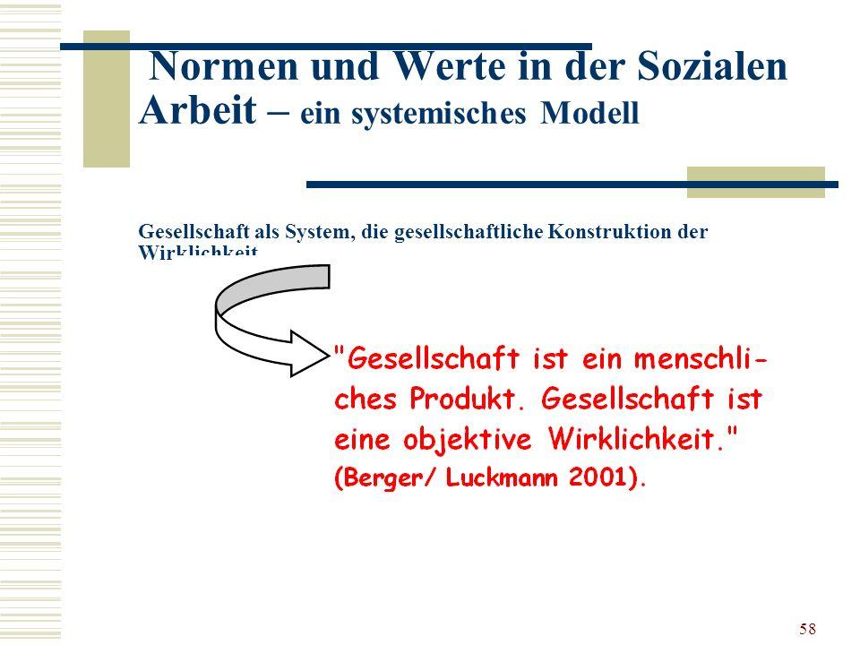 58 Normen und Werte in der Sozialen Arbeit – ein systemisches Modell Gesellschaft als System, die gesellschaftliche Konstruktion der Wirklichkeit …..