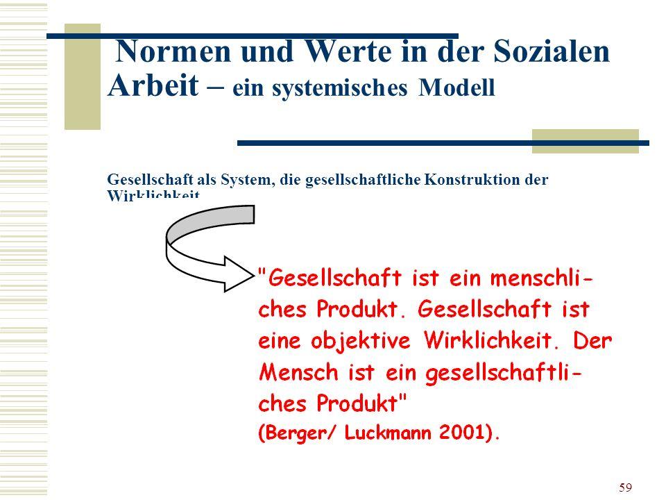 59 Normen und Werte in der Sozialen Arbeit – ein systemisches Modell Gesellschaft als System, die gesellschaftliche Konstruktion der Wirklichkeit …..