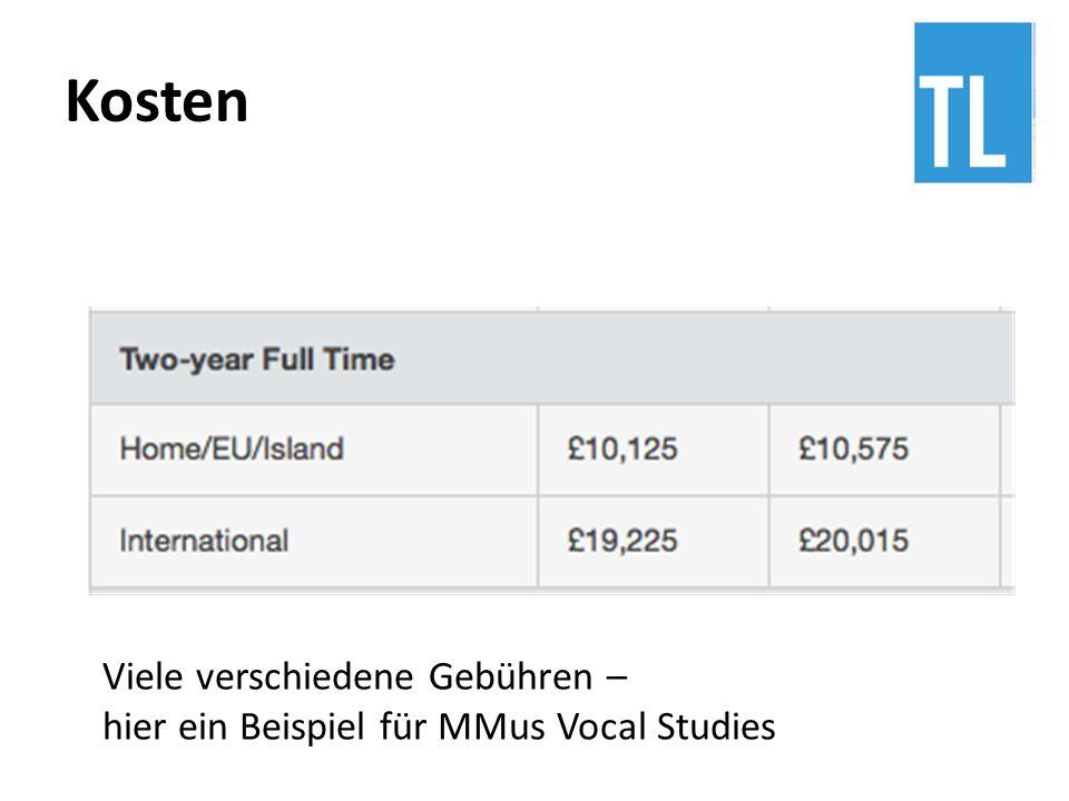 Viele verschiedene Gebühren – hier ein Beispiel für MMus Vocal Studies
