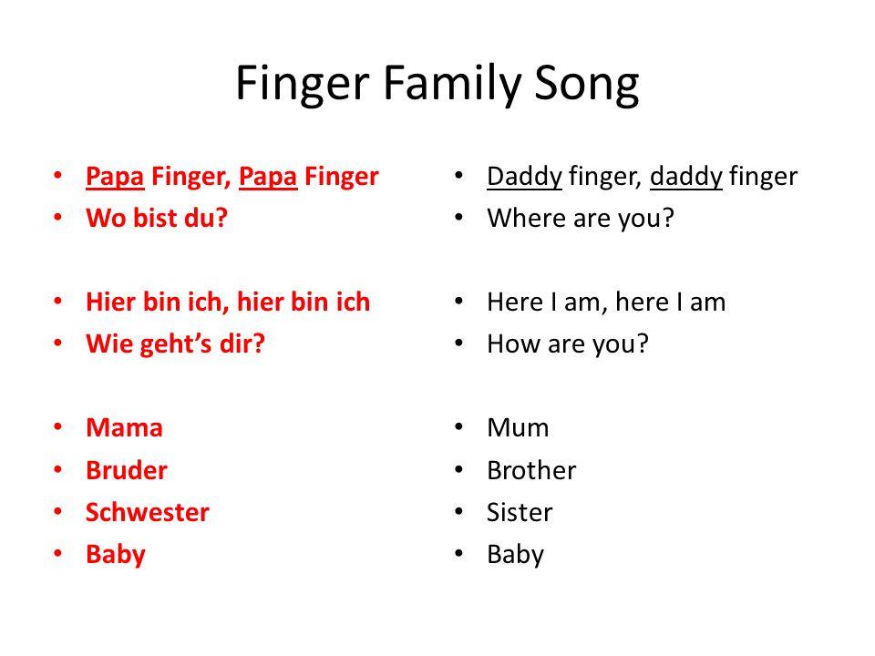 Finger Family Song Papa Finger, Papa Finger Wo bist du? Hier bin ich, hier bin ich Wie geht's dir? Mama Bruder Schwester Baby Daddy finger, daddy fing