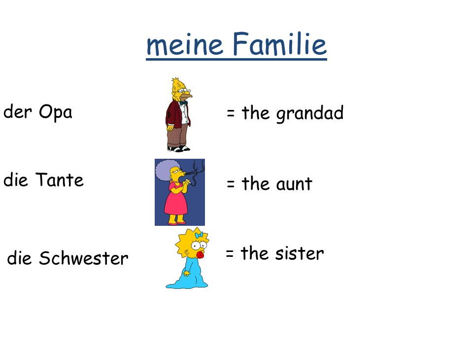 meine Familie der Opa = the grandad die Tante = the aunt die Schwester = the sister