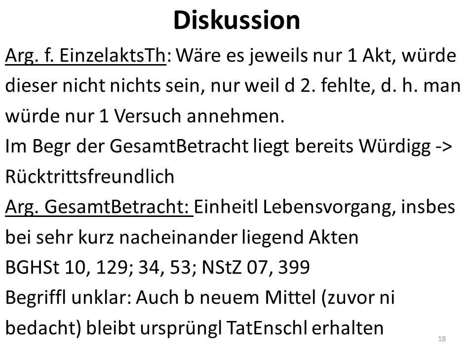 Diskussion Arg. f.