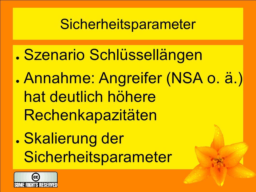 Sicherheitsparameter ● Szenario Schlüssellängen ● Annahme: Angreifer (NSA o. ä.) hat deutlich höhere Rechenkapazitäten ● Skalierung der Sicherheitspar