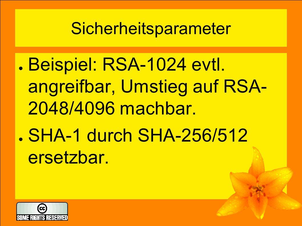 Sicherheitsparameter ● Beispiel: RSA-1024 evtl. angreifbar, Umstieg auf RSA- 2048/4096 machbar. ● SHA-1 durch SHA-256/512 ersetzbar.