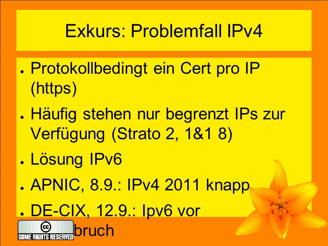 Exkurs: Problemfall IPv4 ● Protokollbedingt ein Cert pro IP (https) ● Häufig stehen nur begrenzt IPs zur Verfügung (Strato 2, 1&1 8) ● Lösung IPv6 ● A