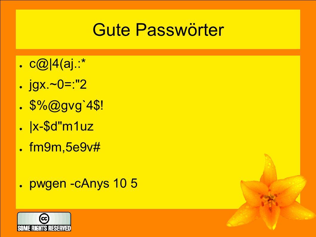 Gute Passwörter ● c@|4(aj.:* ● jgx.~0=: