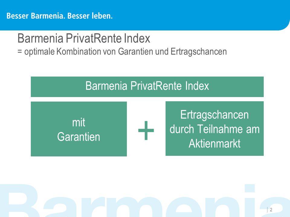 22 Barmenia PrivatRente Index = optimale Kombination von Garantien und Ertragschancen mit Garantien Ertragschancen durch Teilnahme am Aktienmarkt +