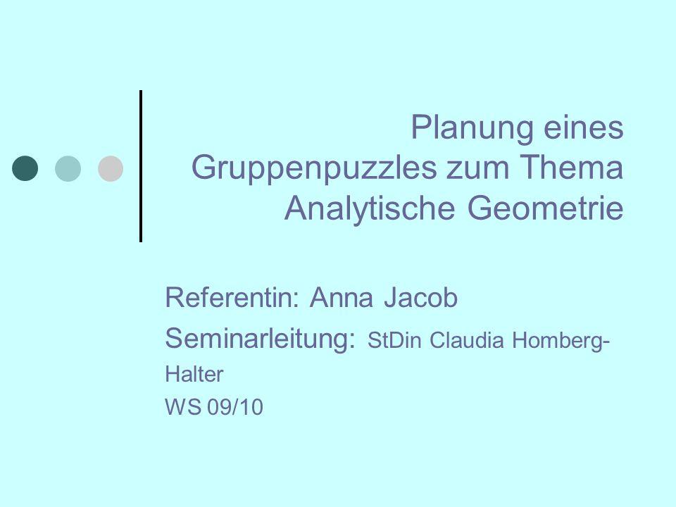Sitzungsverlauf Analytische Geometrie und deren Einordnung in den Lehrplan Wiederholung zum Thema Gruppenpuzzle Arbeitsphase Reflexion und Diskussion Quellen