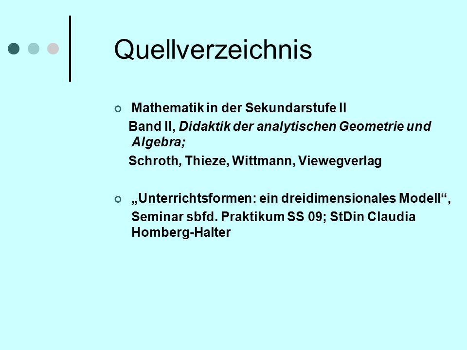 """Quellverzeichnis Mathematik in der Sekundarstufe II Band II, Didaktik der analytischen Geometrie und Algebra; Schroth, Thieze, Wittmann, Viewegverlag """"Unterrichtsformen: ein dreidimensionales Modell , Seminar sbfd."""