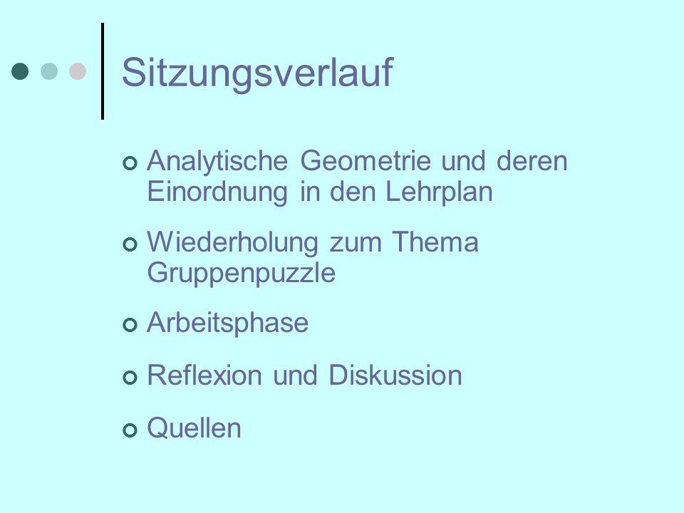 Sitzungsverlauf Analytische Geometrie und deren Einordnung in den Lehrplan Wiederholung zum Thema Gruppenpuzzle Arbeitsphase Reflexion und Diskussion