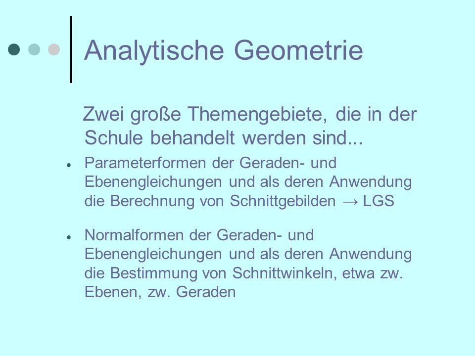 Analytische Geometrie Zwei große Themengebiete, die in der Schule behandelt werden sind...  Parameterformen der Geraden- und Ebenengleichungen und al