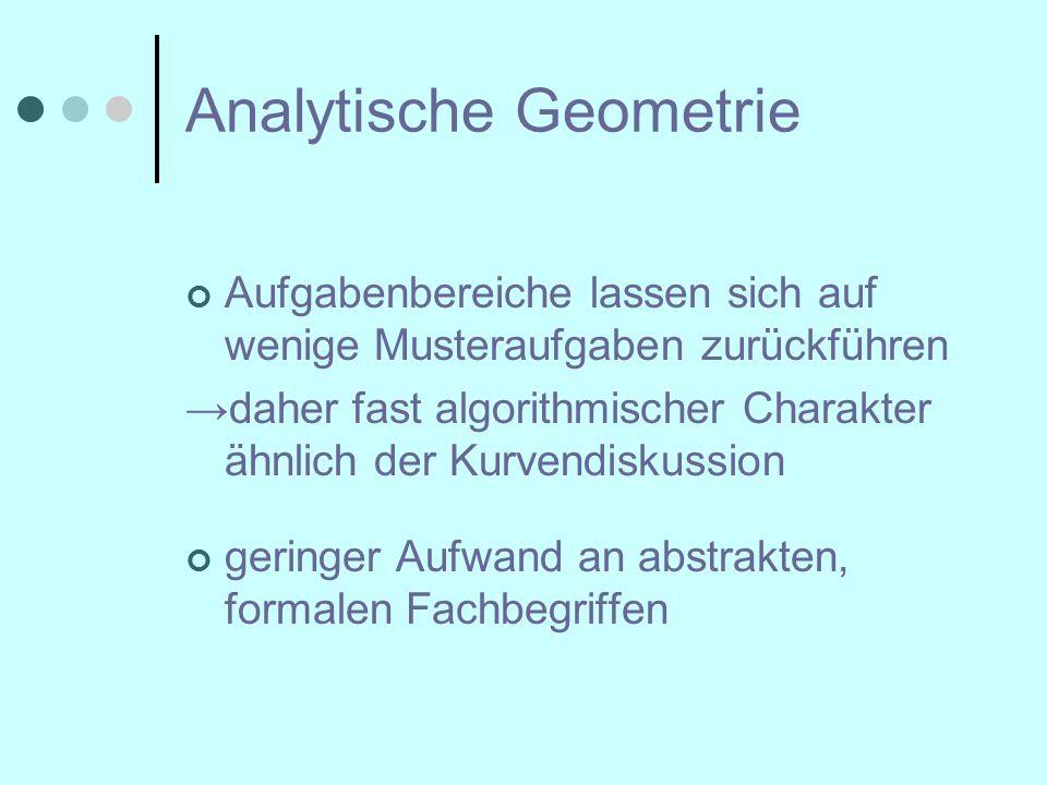 Analytische Geometrie Aufgabenbereiche lassen sich auf wenige Musteraufgaben zurückführen →daher fast algorithmischer Charakter ähnlich der Kurvendiskussion geringer Aufwand an abstrakten, formalen Fachbegriffen