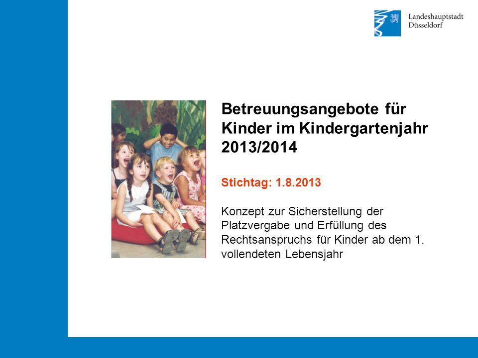 Betreuungsangebote für Kinder im Kindergartenjahr 2013/2014 Stichtag: 1.8.2013 Konzept zur Sicherstellung der Platzvergabe und Erfüllung des Rechtsanspruchs für Kinder ab dem 1.