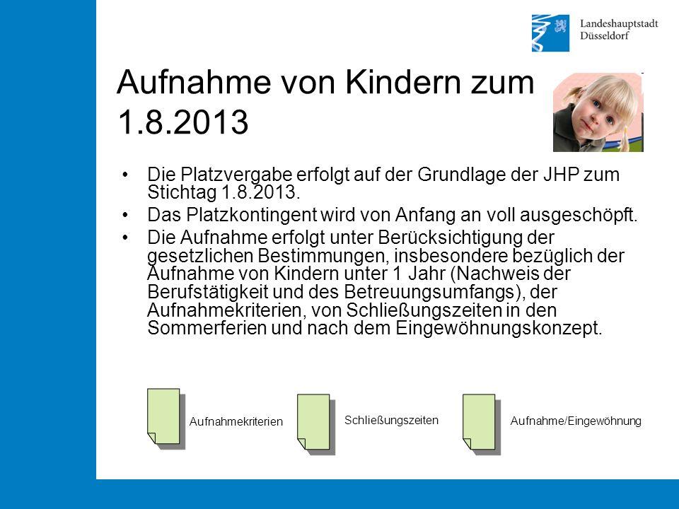 Aufnahme von Kindern zum 1.8.2013 Die Platzvergabe erfolgt auf der Grundlage der JHP zum Stichtag 1.8.2013.