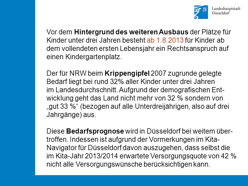 Vor dem Hintergrund des weiteren Ausbaus der Plätze für Kinder unter drei Jahren besteht ab 1.8.2013 für Kinder ab dem vollendeten ersten Lebensjahr ein Rechtsanspruch auf einen Kindergartenplatz.