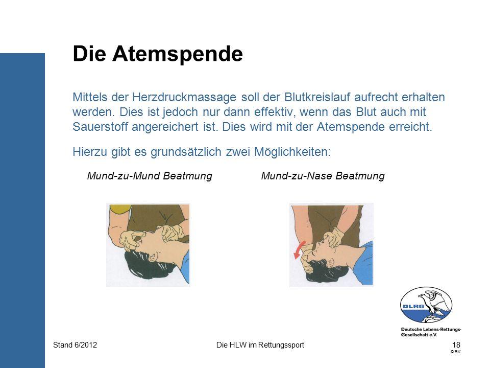 18 © RK Die HLW im RettungssportStand 6/2012 Mittels der Herzdruckmassage soll der Blutkreislauf aufrecht erhalten werden.