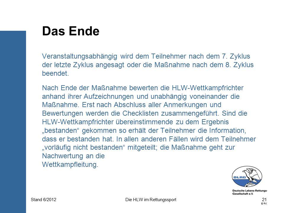 21 © RK Die HLW im RettungssportStand 6/2012 Veranstaltungsabhängig wird dem Teilnehmer nach dem 7.