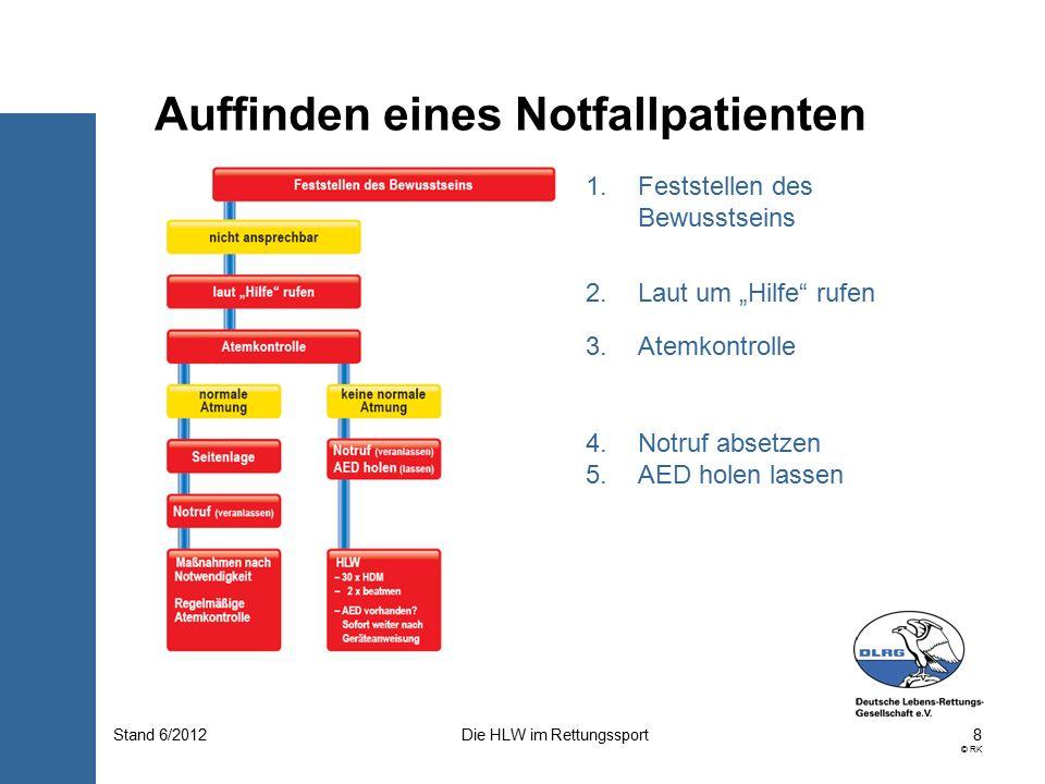 19 © RK Die HLW im RettungssportStand 6/2012 In beiden Fällen ist zunächst der Kopf zu überstrecken.