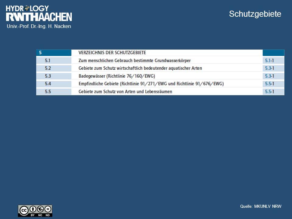 Univ.-Prof. Dr.-Ing. H. Nacken Schutzgebiete Quelle: MKUNLV NRW