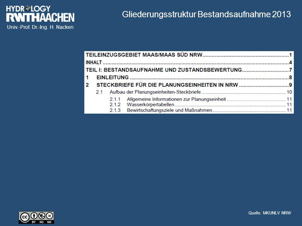 Univ.-Prof. Dr.-Ing. H. Nacken Gliederungsstruktur Bestandsaufnahme 2013 Quelle: MKUNLV NRW