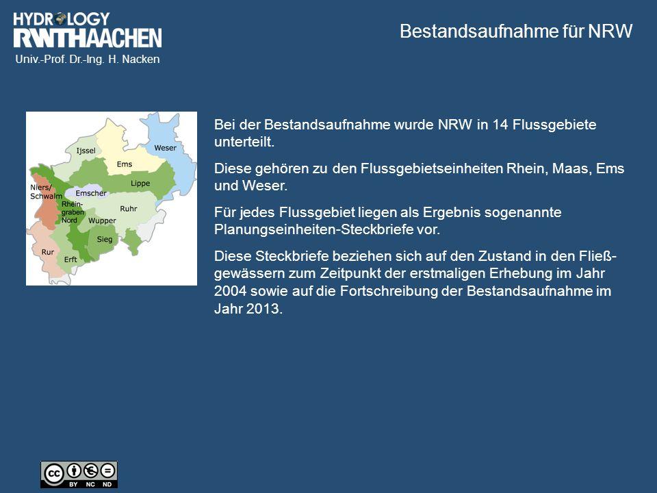 Univ.-Prof. Dr.-Ing. H. Nacken Gliederungsstruktur der Bestandsaufnahme 2004 Quelle: MKUNLV NRW