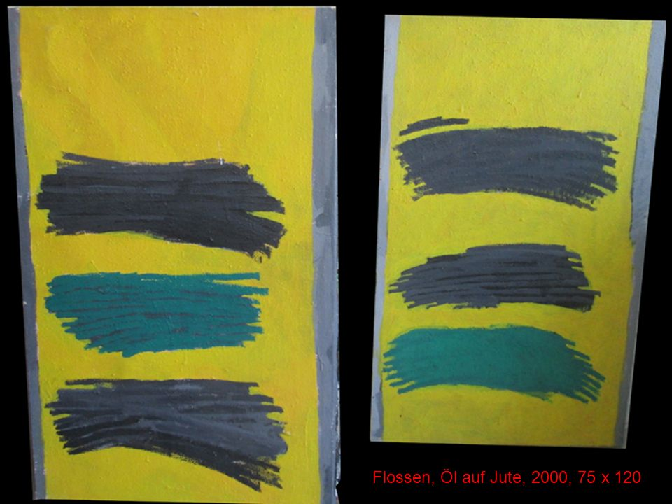 Flossen, Öl auf Jute, 2000, 75 x 120
