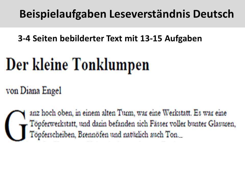 Beispielaufgaben Leseverständnis Deutsch 42 3-4 Seiten bebilderter Text mit 13-15 Aufgaben..