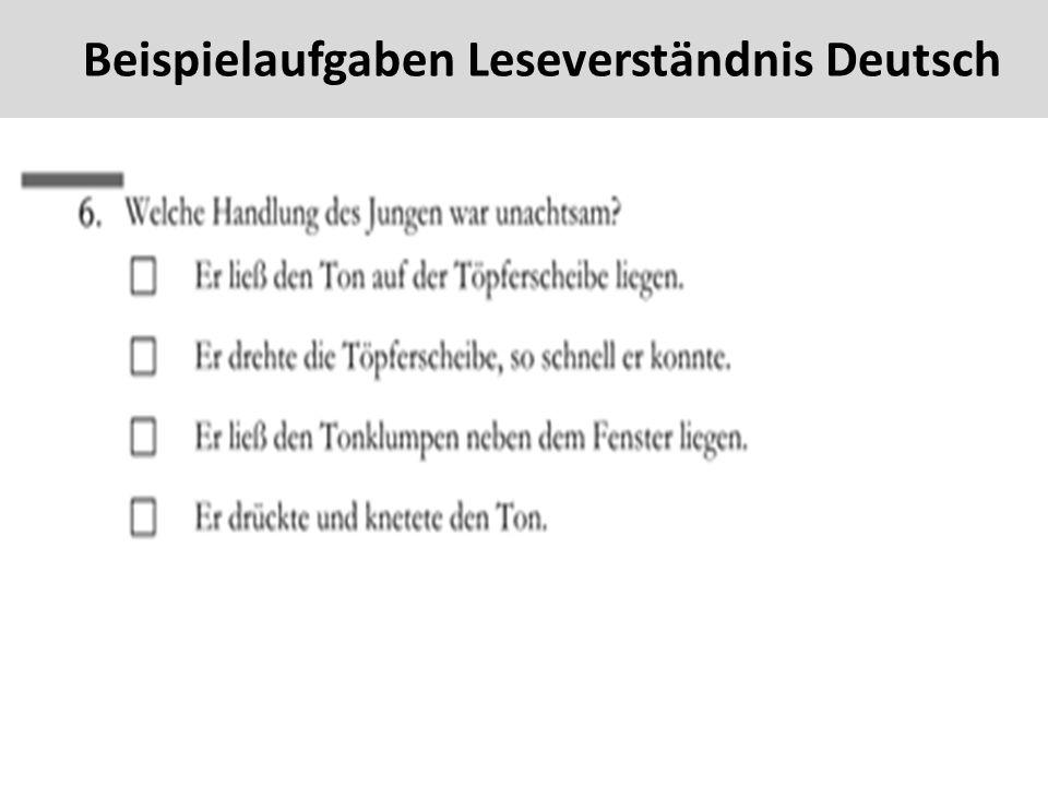 43 Beispielaufgaben Leseverständnis Deutsch
