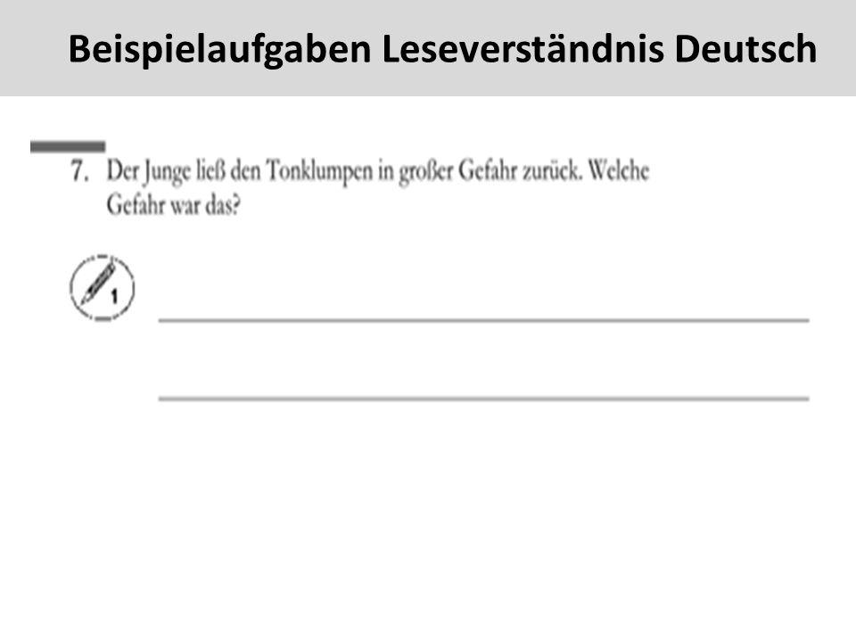 44 Beispielaufgaben Leseverständnis Deutsch