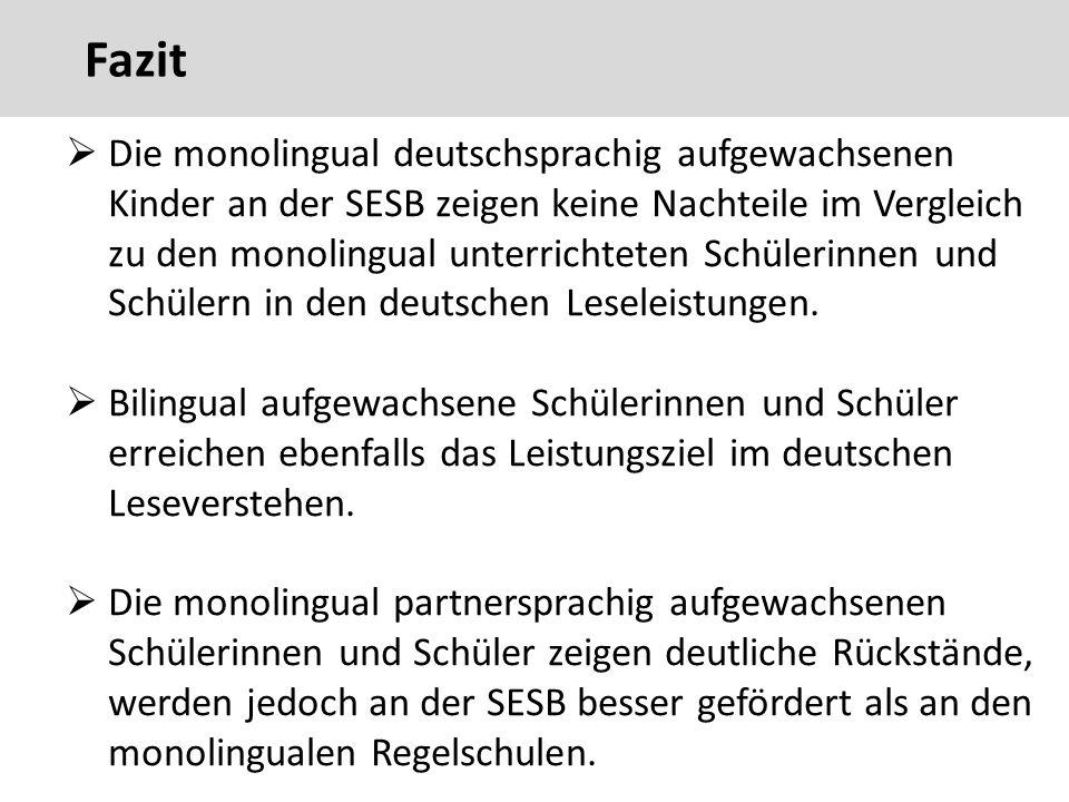  Die monolingual deutschsprachig aufgewachsenen Kinder an der SESB zeigen keine Nachteile im Vergleich zu den monolingual unterrichteten Schülerinnen und Schülern in den deutschen Leseleistungen.