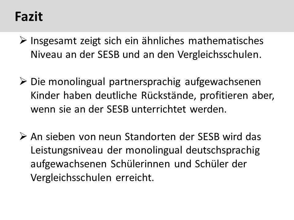 Fazit  Insgesamt zeigt sich ein ähnliches mathematisches Niveau an der SESB und an den Vergleichsschulen.