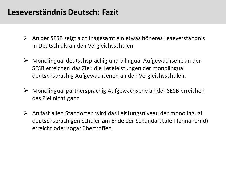 78  An der SESB zeigt sich insgesamt ein etwas höheres Leseverständnis in Deutsch als an den Vergleichsschulen.