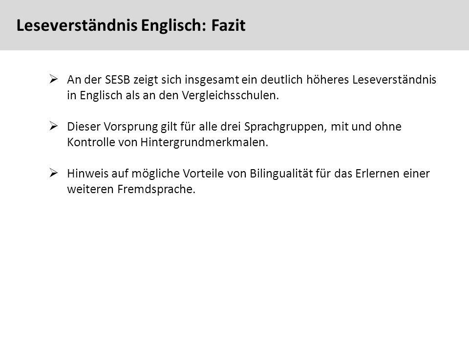 88  An der SESB zeigt sich insgesamt ein deutlich höheres Leseverständnis in Englisch als an den Vergleichsschulen.