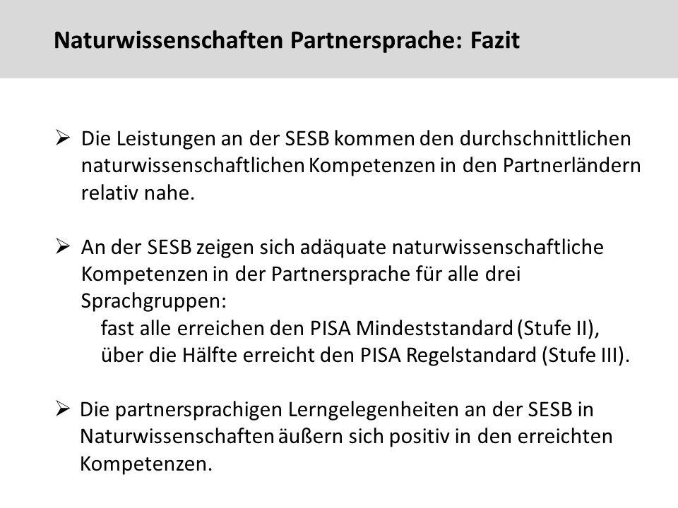 Naturwissenschaften Partnersprache: Fazit  Die Leistungen an der SESB kommen den durchschnittlichen naturwissenschaftlichen Kompetenzen in den Partnerländern relativ nahe.