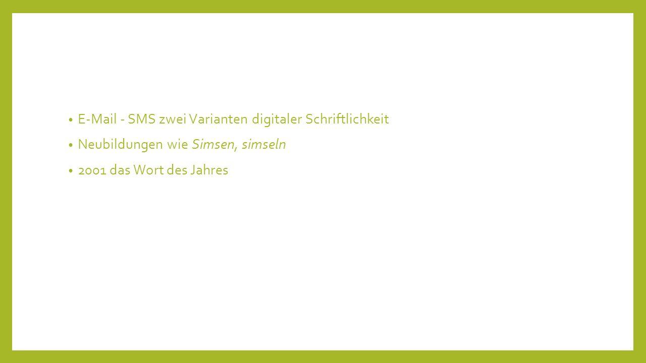 E-Mail - SMS zwei Varianten digitaler Schriftlichkeit Neubildungen wie Simsen, simseln 2001 das Wort des Jahres