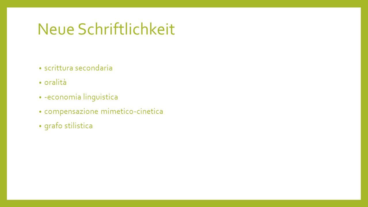 Neue Schriftlichkeit scrittura secondaria oralità -economia linguistica compensazione mimetico-cinetica grafo stilistica