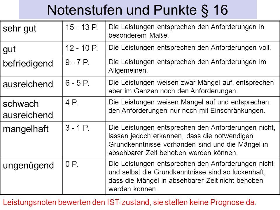 Notenstufen und Punkte § 16 sehr gut 15 - 13 P.