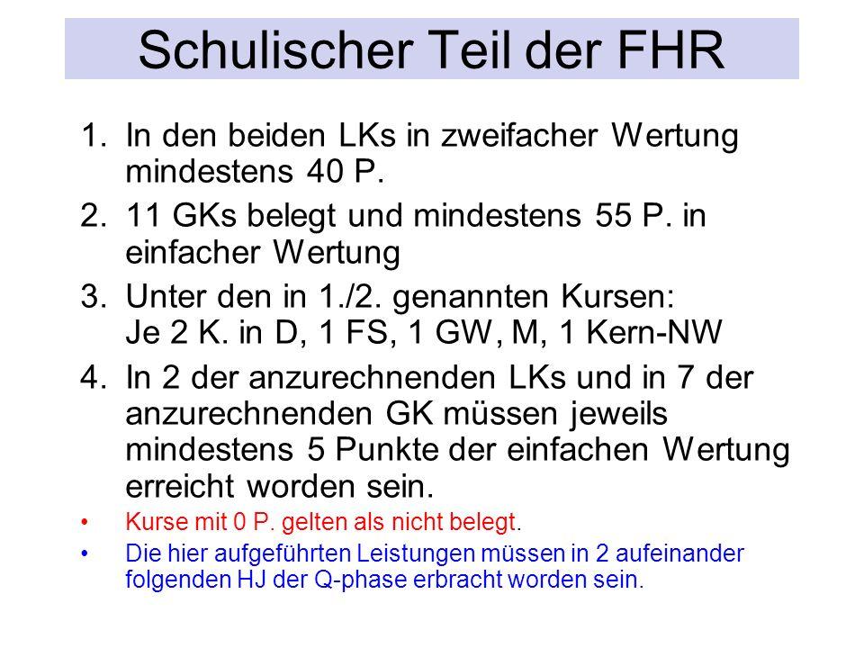 Schulischer Teil der FHR 1.In den beiden LKs in zweifacher Wertung mindestens 40 P.