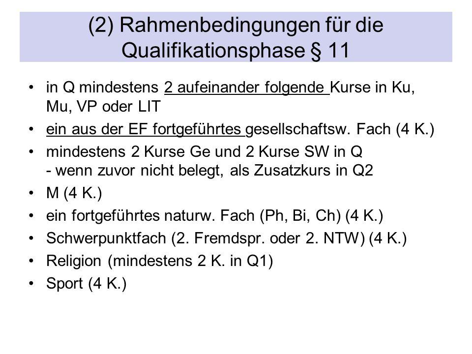 (2) Rahmenbedingungen für die Qualifikationsphase § 11 in Q mindestens 2 aufeinander folgende Kurse in Ku, Mu, VP oder LIT ein aus der EF fortgeführtes gesellschaftsw.