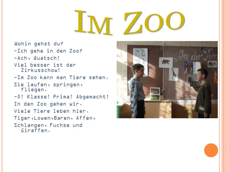 - Wohin gehst du? -Ich gehe in den Zoo? -Ach, Quatsch! Viel besser ist der Zirkusschow! -Im Zoo kann man Tiere sehen. Sie laufen, springen, fliegen. -