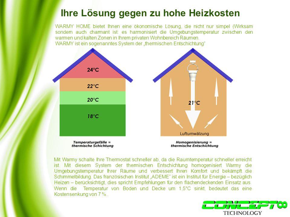 Ihre Lösung gegen zu hohe Heizkosten WARMY HOME bietet Ihnen eine ökonomische Lösung, die nicht nur simpel (Wirksam sondern auch charmant ist: es harmonisiert die Umgebungstemperatur zwischen den warmen und kalten Zonen in Ihrem privaten Wohnbereich Räumen.