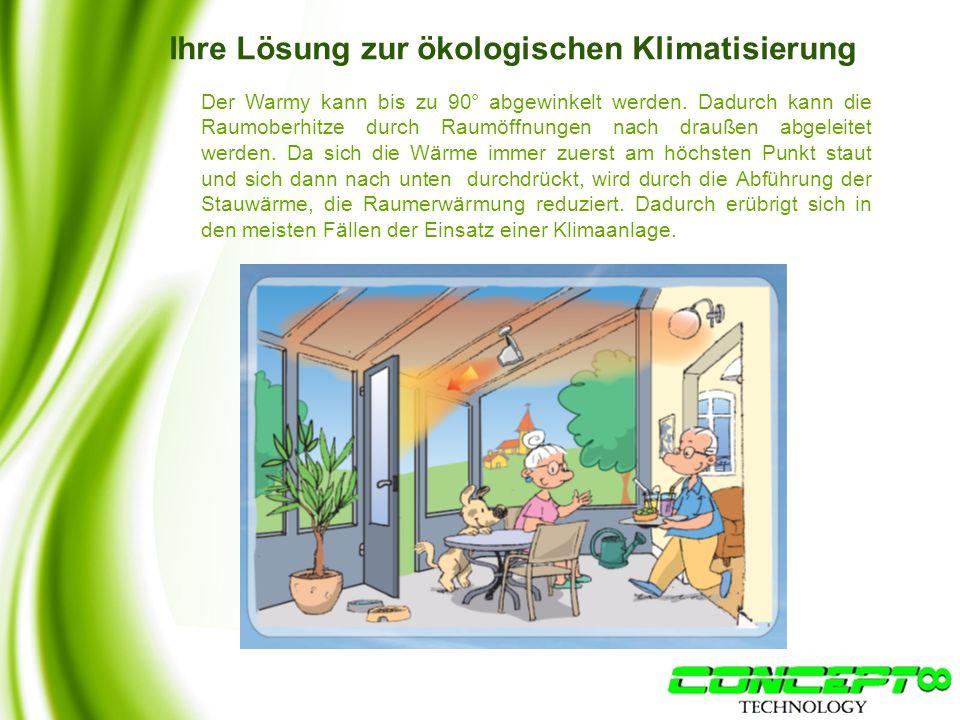 Ihre Lösung zur ökologischen Klimatisierung Der Warmy kann bis zu 90° abgewinkelt werden.
