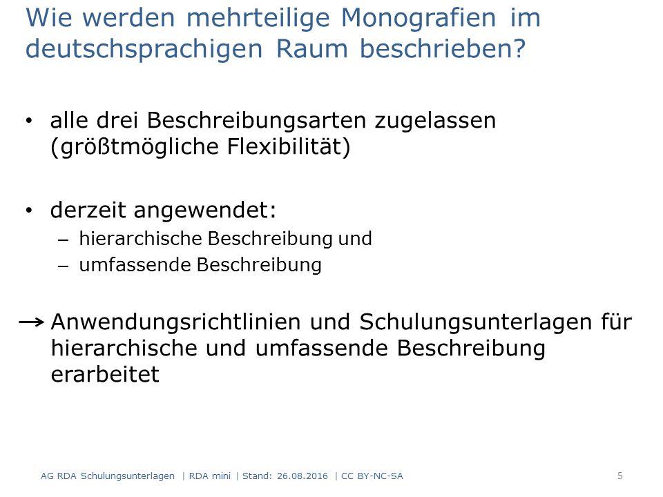 Abgrenzung / Art des Inhalts Abgrenzung (RDA 0.0 D-A-CH, Erläuterung 2, 5) Ressourcen zu Konferenzen werden grundsätzlich monografisch erfasst.