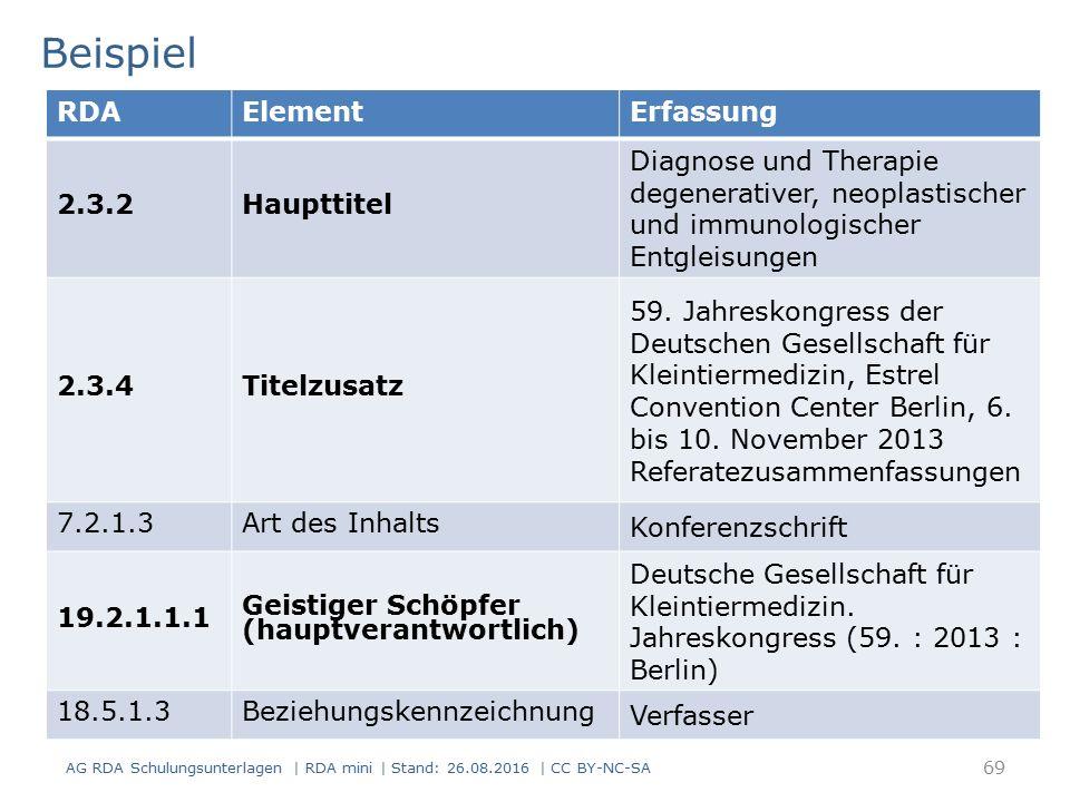 Beispiel AG RDA Schulungsunterlagen | RDA mini | Stand: 26.08.2016 | CC BY-NC-SA 69 RDAElementErfassung 2.3.2Haupttitel Diagnose und Therapie degenerativer, neoplastischer und immunologischer Entgleisungen 2.3.4Titelzusatz 59.