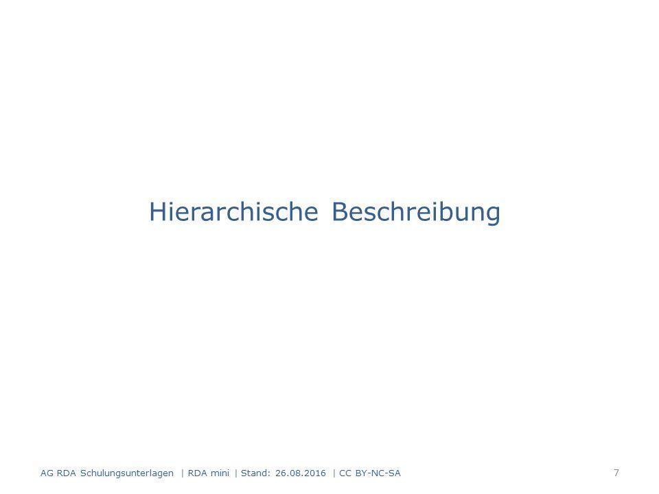 Umfassende Beschreibung Umfassende Beschreibung:  Beschreibung einer Ressource in einer einzigen Aufnahme Einzelheiten zu den Teilen werden erfasst als Teil der Beschreibung des Datenträgers (siehe RDA 3.1.4) als Beziehung zu einer in Beziehung stehenden Manifestation (siehe RDA 27.1) AG RDA Schulungsunterlagen | RDA mini | Stand: 26.08.2016 | CC BY-NC-SA 18