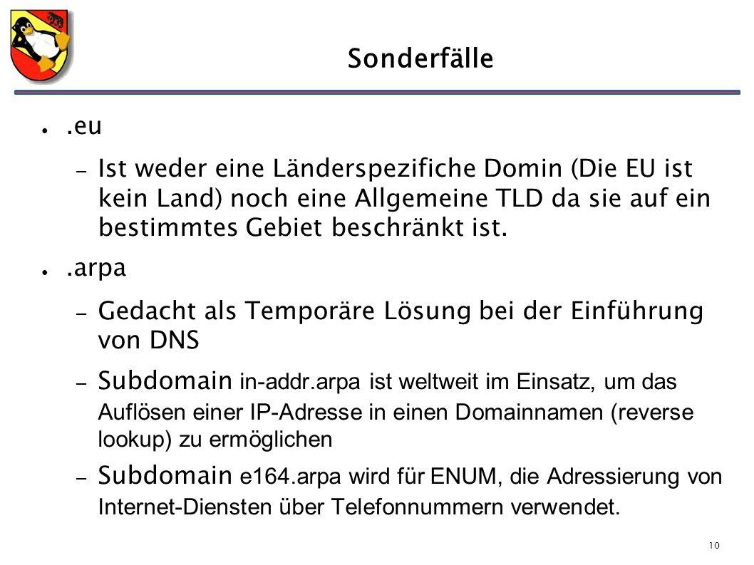 10 Sonderfälle ●.eu – Ist weder eine Länderspezifiche Domin (Die EU ist kein Land) noch eine Allgemeine TLD da sie auf ein bestimmtes Gebiet beschränkt ist.