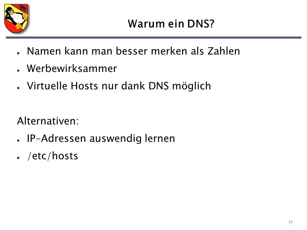 11 Warum ein DNS? ● Namen kann man besser merken als Zahlen ● Werbewirksammer ● Virtuelle Hosts nur dank DNS möglich Alternativen: ● IP-Adressen auswe