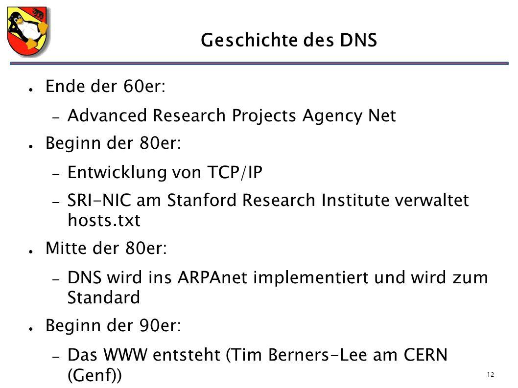 12 Geschichte des DNS ● Ende der 60er: – Advanced Research Projects Agency Net ● Beginn der 80er: – Entwicklung von TCP/IP – SRI-NIC am Stanford Research Institute verwaltet hosts.txt ● Mitte der 80er: – DNS wird ins ARPAnet implementiert und wird zum Standard ● Beginn der 90er: – Das WWW entsteht (Tim Berners-Lee am CERN (Genf))